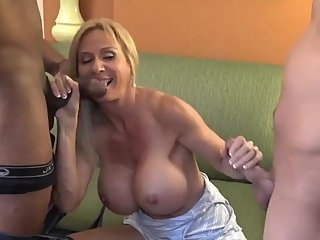 Horny MILF Enjoying Interracial Threesome Fuck