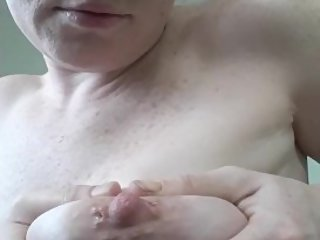 Playing with my lactating tits