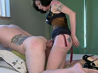 Preparing His Anus - Mrs Mischief femdom milf strapon training tease