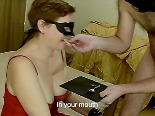 Submissive MILF made to eat frozen cum and her master's cumshot