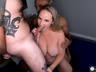 Cuck Films Cum Covered HOTWIFE in Threesome with 2 Guys
