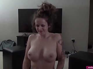 #33 Melody Radford BIG TIT WIFE Gives Loving Blowjob on Valentines Day