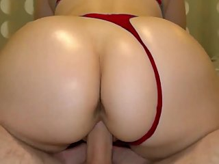 Stepmom with big ass in red thong sat on son cock