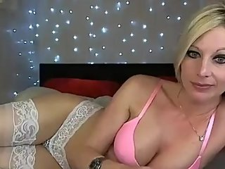 Blonde milf strips to stockings and plays with mutiple toys (part 1)