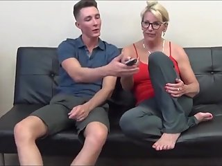 Taboo! Naughty mature stepmom seduces her 18yo virgin stepson with big cock