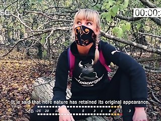 Outdoor blowjob. Stalker Karina suck a dick to a guard at an abandoned camp