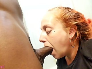 Dumb Slut Latina Milf Sloppy Deepthroat In my Bathroom BIG ASS