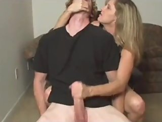 Sexy mature MILF jerking off big dick like a real master