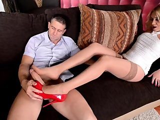 blone babe footjob with stockings
