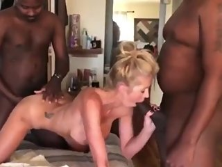 Crazy MILF gets hard fucked by two BBC