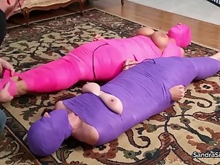 2182 MILFs Completely Mummified & Hooded Receive Intense Wand Orgasms!