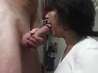 Sexy mature MILF sucks big cock and swallows cum
