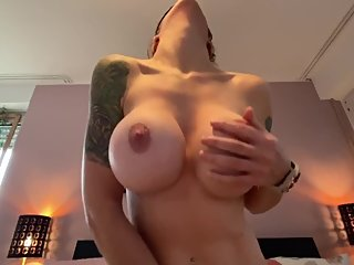 Perfect big tits wife rides with drooling orgasm