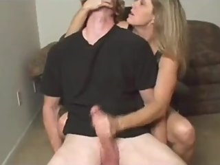 Naughty mature MOM jerking off very big cock