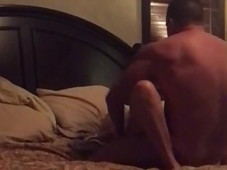 Hubby fucks big tit milf on her back