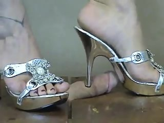 Working your cock with Bejeweled Mules High heels CBT (from Bitta's Vaut)