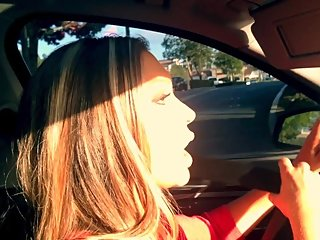 Blonde Bombshell Jessica Gives Head In Her BMW 550i Luxury Car POV