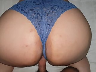 Big ass in blue panty is fucked in doggystyle POV