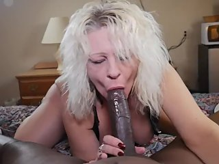 Freaky white milf I met at the bar sucks my big black dick all night