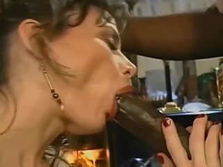 Husband gives his wife a big black cock that fucks her and buggers her