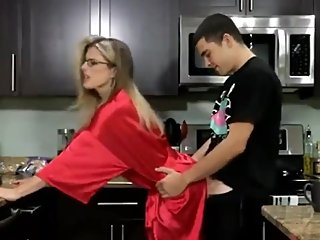 Sexy MILF used hard by her stepson in kitchen