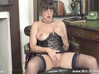 Brunette JOI flaunts big natural tits juicy pussy in corselette and nylons
