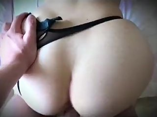 Step son spreads sperm on step mom pussy after fucking through panties