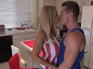 Sexy stepmom with big tits sucks her stepson's big cock