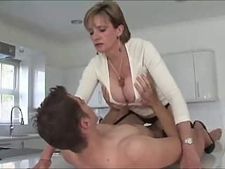 Naughty american mature MILF and her young roomate with big cock