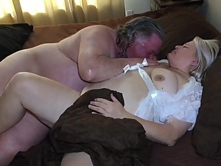 Fucking my beautiful blonde wife in her white lingerie