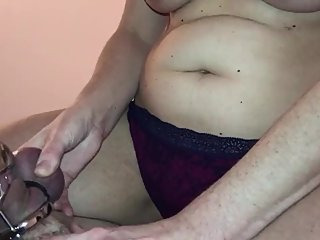Chastity Ballsqueezing torture while he drips cum for me