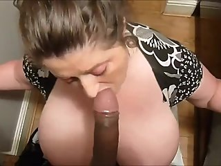 Huge tits mom sucking bbc and drink cum
