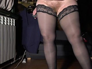 Mature BBW with hairy pussy and huge tits tries on stockings and shoes
