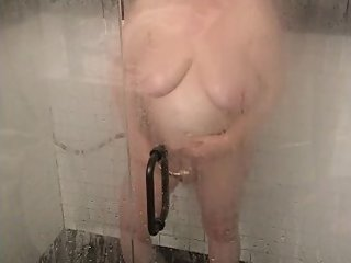 MILF with Big Boobs Masturbating in the Shower