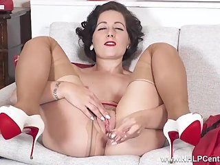 Sexy Milf Belle O'Hara cums with dildo toy in tan pantyhose garters heels