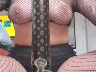Sexy Naked Fishnet Bong Hits and Dancing