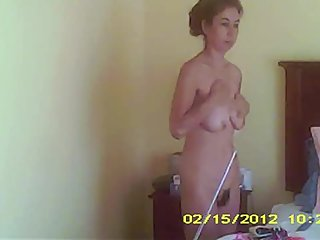 Milf big tits and bush lubing her body