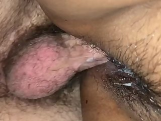 Pounding a creamy Asian pussy.