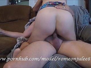 Sexy wife fucks neighbor in living room while husband is away