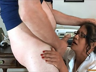 Getting Head From My Secretary and Cumming on Her Glasses