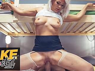 Fake Hostel real mature milf with nice natural tits fucks two men