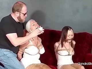 2173 Mother & Step-Daughter in Girdles Get Gagged on Screen, Attempt Escape