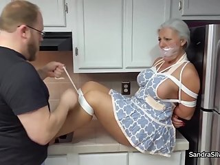 2372 MILF Housewives Tied Up in Kitchen - Bare Feet & Breasts On Display!