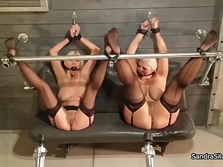 2370 Spread in Steel Device, Drooling MILF Damsels Endure Weighted Wands!