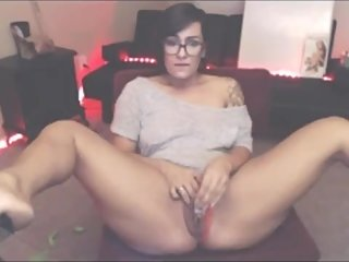 Nerdy Camgirl in Glasses Cums Using Glass Dildo Tiny Tits