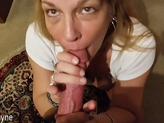 Friends Hot Mom Sucks my Young Hard Cock and I Cum in Her Mouth!