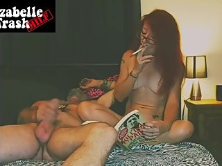 Nerdy MILF naked smoking reading and watching him wank his big cock