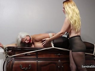 2362 MILF Half Hogtied Stretched Out, Table Top Bondage Orgasm Predicament!