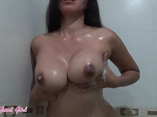 Watch me massage my big tits with cum after happy ending
