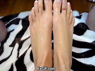 Ex Girlfriend gives hot footjob with load on her sexy feet